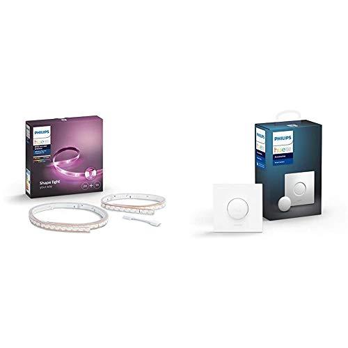 Philips Lighting Hue White and LightStrip Plus Striscia LED Smart, Dimmerabile, 16 Milioni Colori, Kit Base 2 m + Estensione di 1 m, Bianco & Lighting Hue Smart Button Telecomando per Illuminazione
