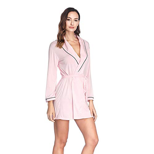 LHK Bademantel Nachthemd Damen neun Punkte Ärmel Gürtel Kleider nach Hause-Pink_Eine Größe