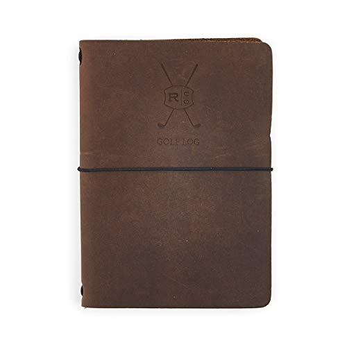 Rustico Leather Golf Log Book, Handmade in The USA, Easily Refillable, Perfect for Birthdays and Anniversaries, Natural Top Grain, Great Gift for Dad or Husband