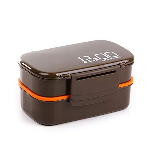 Elegante caja Bento para niños de gran capacidad, 1400 ml, doble capa, de plástico, caja de almuerzo para microondas, horno y bento, contenedor de alimentos, para comer todos los días (color: marrón)