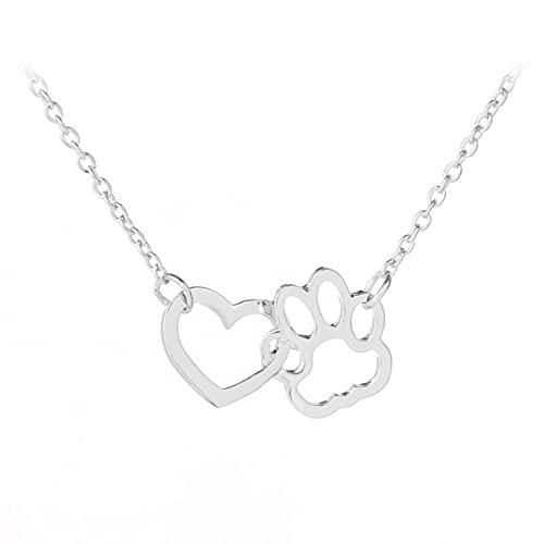 Collares Huecos con Huella de Pata de Mascota Animal Lindo Perro Gato Amor corazón Colgante Collar para Mujeres niñas Collar de joyería