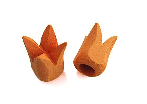 2 Endstücke TULPE Holz für Stil Ø 12 mm, orange