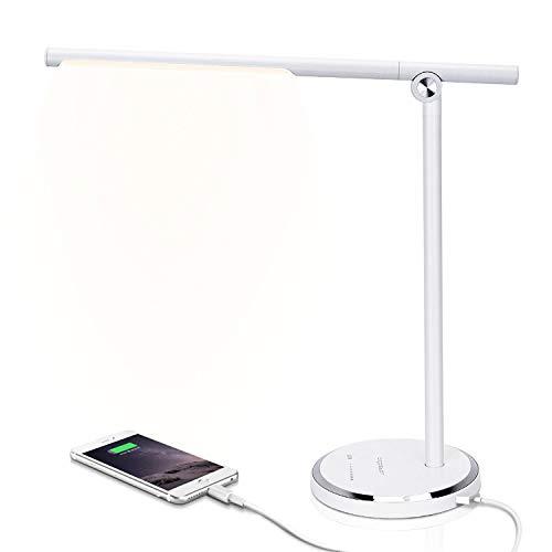 Aigostar - Lámpara Escritorio LED, Puerto USB, Control Táctil, 5 Modos, 10...
