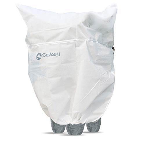 Sekey Cappuccio Protezione Piante Non Tessuto 80g/m² Sacco di Protezione Invernale Piante con 2 Coulisse e Cerniera, Telo Protezione Piante Bianco 360x250cm