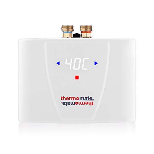 Thermomate ELEX5.5 5.5kW Mini Calentador de Agua Instantaneo Electrico sin Tanque 5.5kW con pantalla LED retroiluminada, para Cocina Bano, Instalacion Sobre o Bajo Lavabo