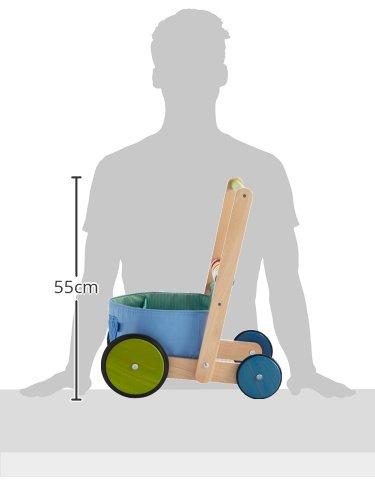 HABA 6432 – Lauflernwagen Farbenspaß, Lauflernhilfe aus Holz und Textil mit bunten Spielelementen, Transportfach für Spielsachen, Bremse und Gummirädern, ab 10 Monaten - 5