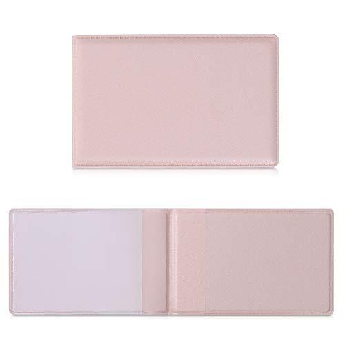 kwmobile 3in1 Kartenetui aus Kunstleder - 10 x 6,5cm - Mini Kreditkarten Wallet - Etui für Karten im Scheckkartenformat - Rosegold