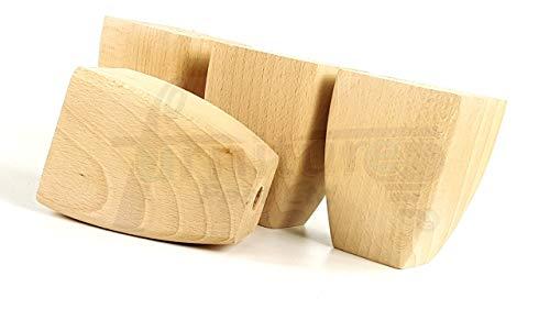 Knightsbrandnu2u 4 patas para muebles de madera maciza de repuesto para sillas de asientos, sofás, taburetes - pretaladrado - TSP2031S (crudo)