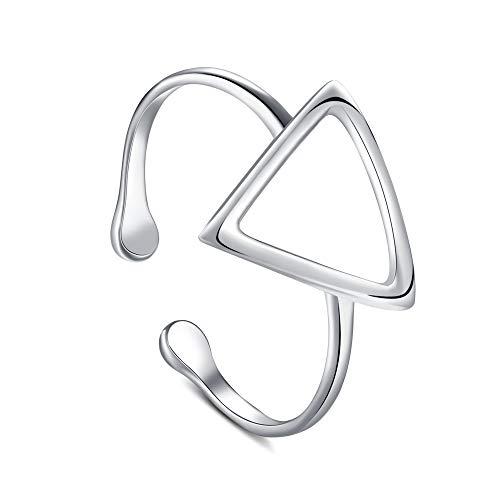 LafeeJewels Stapel Ringe verstellbar für Frauen Mädchen 925 Sterling Silber (Dreieck)