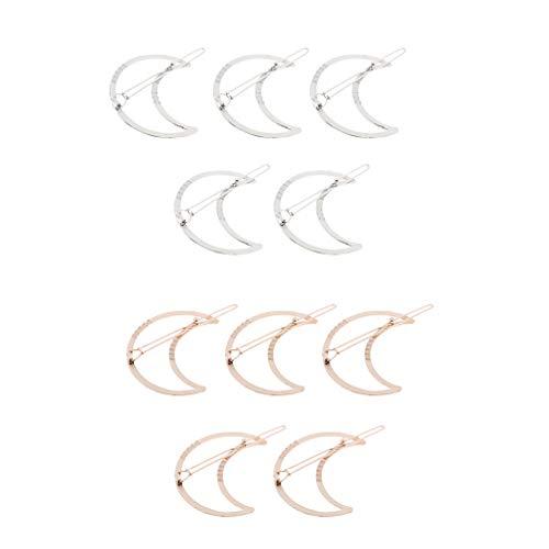 SM SunniMix 10Pcs Mädchen Gold Silber Dreieck Mondform Haarspange Haarstyling - Dreieck - Mond