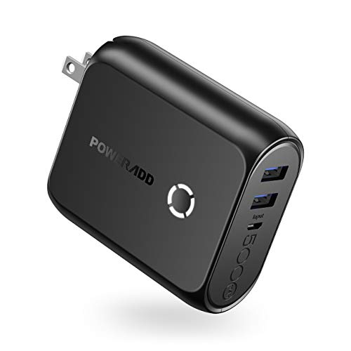 POWERADD EnergyCell AC 5000, Portable Charger 5000mAh with Dual USB Wall Charger, Foldable Plug, Battery Pack for iPhone, iPad, Android, Samsung Galaxy and More(Black)