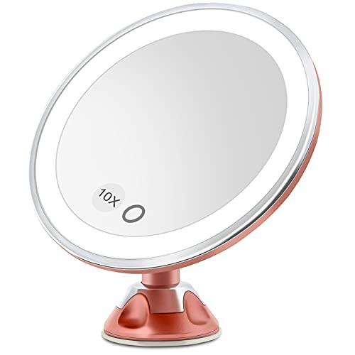 Espejo Maquillaje con Luz LED Aumento 10X Afeitado Aumento con Luz, Espejo Aumento LED Cosmético con Ampliación 10X y Poderoso Ventosa, Rotación 360° (Oro Rosa)