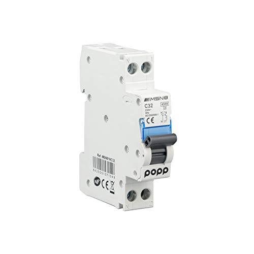 POPP Interruptor Automático Magnetotérmico industrial CURVA C DPN SERIE MSN81NC 6A 10A 16A 20A 25A 32A 40A (DPN, 32A)
