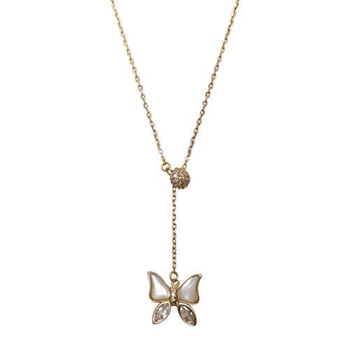 Holibanna Collar de Mariposa Cadena de Clavícula Cadena de Clavícula Colgante Oro Ópalo Colgante...