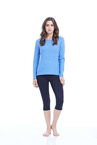 Marika Cruise Long Sleeve T-Shirt Femme, Heather Lapis Blue, Grand