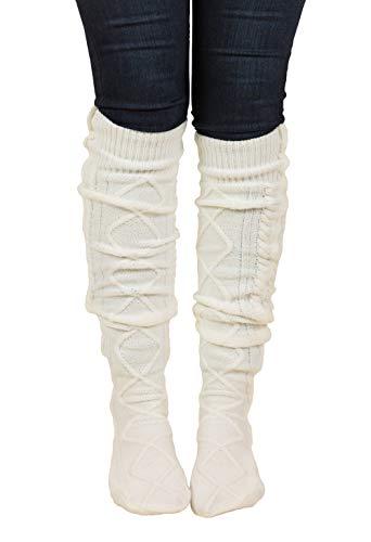 TININNA Chaussettes Femmes Cuisse Haut sur Le Genou Hiver Laine Chaud Jambières en Tricot Crochet Longues Chaussettes Bottes de Mode Couvrent Blanc
