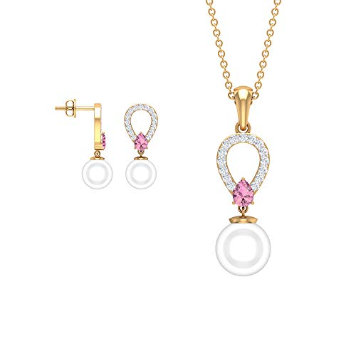 Rosec Jewels 14 quilates oro amarillo redonda pera White Pink Perla de agua dulce Tourmaline Diamond