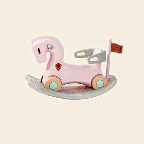 LINGZHIGAN Enfants Toy Double But bébé Year Old Cadeau Cheval de Troie bébé Rocker Scooter (Color : Pink)