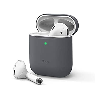 elago Skinny Case Cover Designed for Apple AirPods 1 & 2 - Upgraded Premium Silicone, Ultra Thin, No Hinge, Front LED Visible, Supports Wireless Charging (without Carabiner, Dark Gray) from Elago