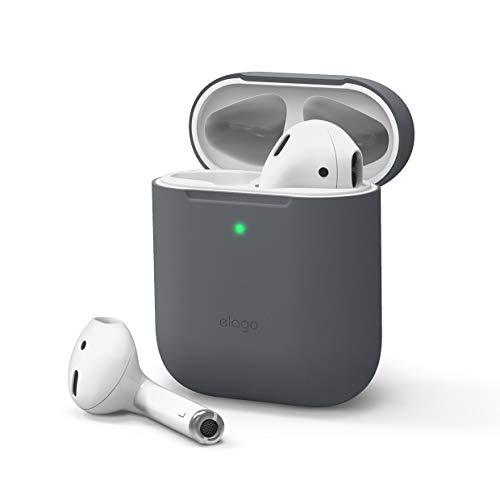 elago Skinny Case Dünne Hülle Schutzhülle Kompatibel mit Apple AirPods 1 & 2 - Hochwertiges Silikon, Kein Scharniere, LED Vorne Sichtbar, Unterstützt Kabelloses Laden (ohne Karabiner, Dunkelgrau)
