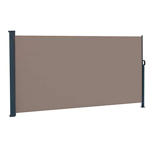 upstartech Seitenmarkise 1,8 * 3m (H x L) Ausziehbar, für Balkon, Terrasse und Garten, mit Bodenhalterung, Sichtschutz, Sonnenschutz, Seitenrollo (braun)