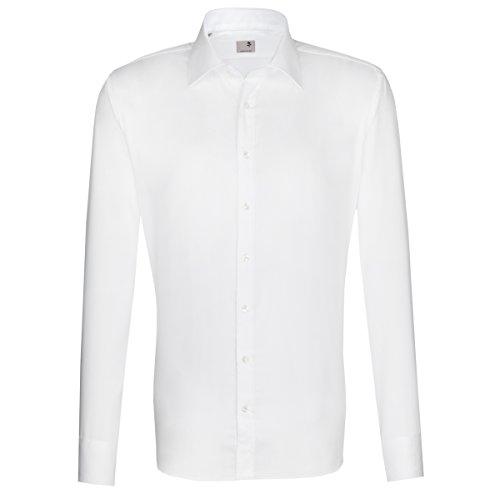 Seidensticker Herren Langarm Hemd Schwarze Rose Slim Fit Paul Match weiß strukturiert mit Patch 243566.01 (43, Weiß)