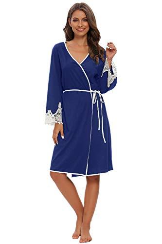 Kimono de mujer de algodón suave ligero Roben punto Batherboe ropa de noche corta mujer Lounge Jersey roca encaje S – XL Navy Dark. L