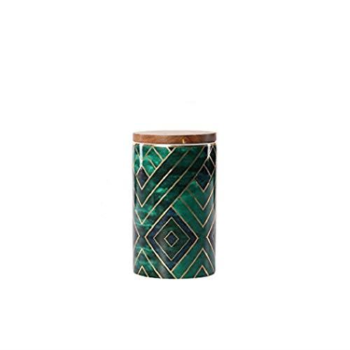 Tarros de cerámica con tapa de madera, diseño de cara de estilo nórdico irregular, herméticos para cocina, para azúcar, té suelto, mermelada, especias, café (16,8 x 9,8 cm)