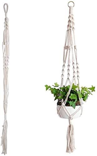 Dylandy Panier à suspendre en corde de macramé pour plante - En jute naturelle - Pour intérieur ou extérieur - Taille L