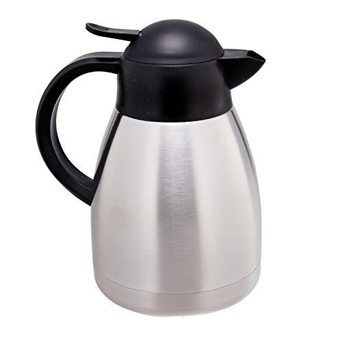 Isolierkanne Dehram | 1,2 Liter | 1 Stück | Edelstahl | Silber | mit Einhandhebel aus Kunststoff | Hält stundenlang heiß oder kalt