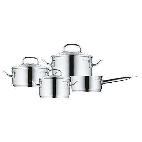 WMF Profi Plus - Batería de cocina de 4 piezas de acero inoxidable (cacerola de Ø 20 cm y 2.8 L, 2 ollas bajas de Ø 16 cm y 2.0 L y Ø 24 cm y 6.0 L, cazo de Ø 16 cm y 1.4 L)