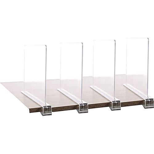 Divisor de estantes, separadores acrílicos para armarios, estantes transparentes separadores de armario para armario, dormitorio, cocina, oficina, no requiere herramientas de instalación, 4 unidades