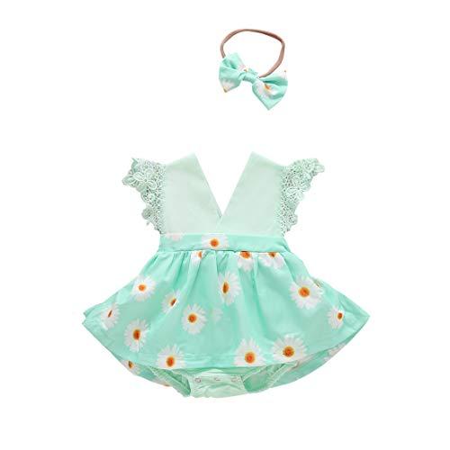 Geagodelia Pijama para bebé de verano con diseño floral, sin mangas con cuello en V, vestido de niña de encaje elegante vestido de princesa + diadema de 2 piezas Verde 18-24 Meses