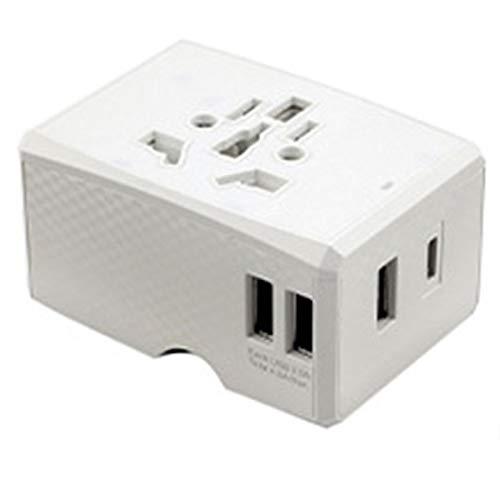 SODIAL Adaptador de Corriente Internacional para Viajes Adaptador de Enchufe USB Adaptadores de Viaje para IPhone12 Carga Tipo C Blanco
