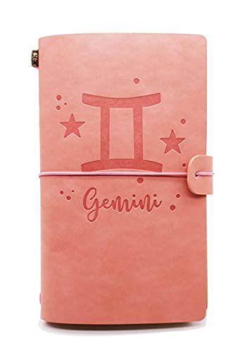 Leather Journal – Zodiac, Astrology, Gemini Journal, Gifts for Friends, Niece, Daughter, Cousins, Sisters – 1 Set(JNL-P-Gemini)
