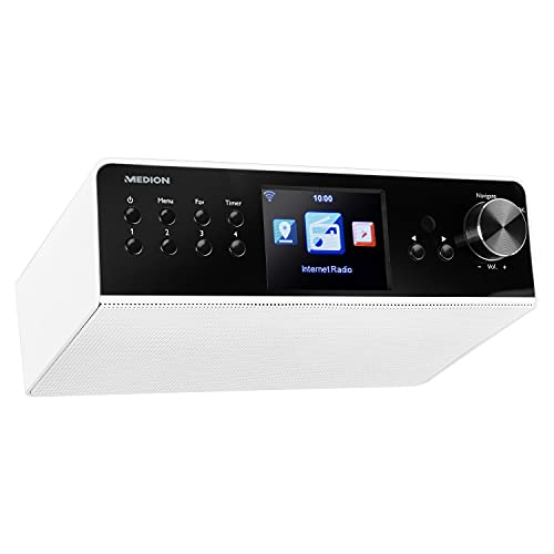 MEDION P85063 Internet Küchenradio mit DAB+ (Unterbauradio, WLAN, UKW, Spotify Connect, DLNA-/UPnP, Farbdisplay) weiß