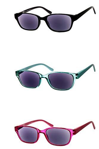 Lesebrille getönt als Sonnenbrille in Rot Mintgrün Schwarz leicht rechteckig eckig sehr modern schmal flach aus Kunststoff langer Bügel robust xl, Dioptrien:Dioptrien 2.5, Farbe:Rot