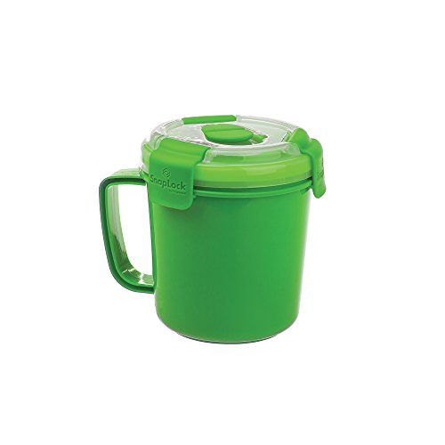 SnapLock by Progressive Soup To-Go Container - Green, Easy-To-Open, Cool Touch Handle Leak-Proof Silicone Seal, Snap-Off Lid, Stackable, BPA FREE