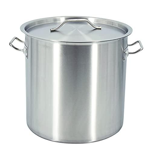 T-CAT Olla de acero inoxidable para inducción, 25/36/50 litros, con tapa, olla universal para verduras, olla para sopa...