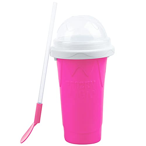 Slushy Maker Cup Magic Slushie DIY Squeeze Cup Double Layer Maker Smoothie Ice Cups for Kids and Family (Pink)