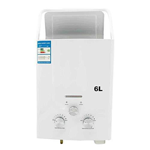 TABODD 6L 12KW Tragbarer LPG-Warmwasserbereiter Propangas-Camping-Duschset für Außenduschbad Warmwasser-Camping-Dusche Warmwasserbereiter mit Duschkopf, Weiß