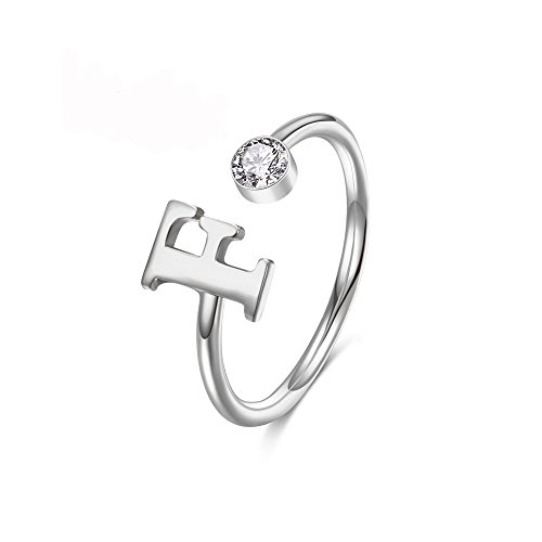 MANZHEN Personalized Silver Initial Letter Ring A-Z Stackable Ring (S)