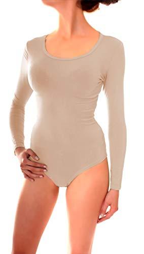 Easy Young Fashion Damen Langarm Body Suit Langarmshirt Unterwäsche mit Rundhals Ausschnitt Beige