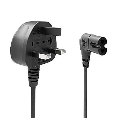 Ancable 1M Power Cable UK 3PIN Plug to Right Angled 90 Degree IEC C7 Figure 8 Cord for Samsung LG Philips Toshiba Sony PS4 PS5 Sharp Panasonic LED Flat TV Printer Sky box, Sky Plus+ HD Box