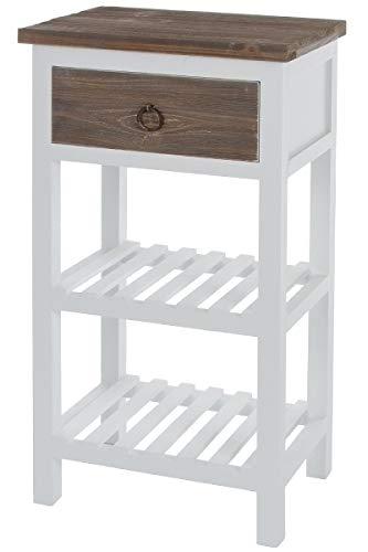 LaNatura Telefontisch Straight Schublade 2 Ablagen MDF Weiß&Holzfarben