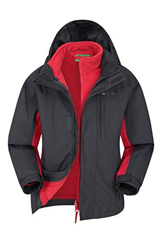 Mountain Warehouse Cannonball Kids 3 in 1 Waterproof Jacket - Breathable Triclimate Rain Jacket, Taped Seams Kids Coat, Detachable Hood - Kids Coat for Winter Walking Grey 9-10 Years