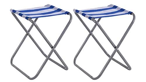 2 Taburetes Plegable Mini Silla Portátil de Aluminio Taburete de Playa de Rayas Azul de Textileno de 39x31x33 cm