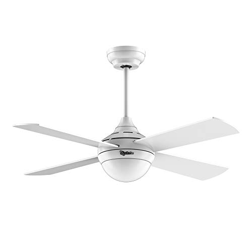 Ovlaim 48 inch DC Motor Ceiling Fan with Light , White Ceiling Fan with LED Light Kit Remote Control Low Profile Indoor 4 Blades Modern Ceiling fan