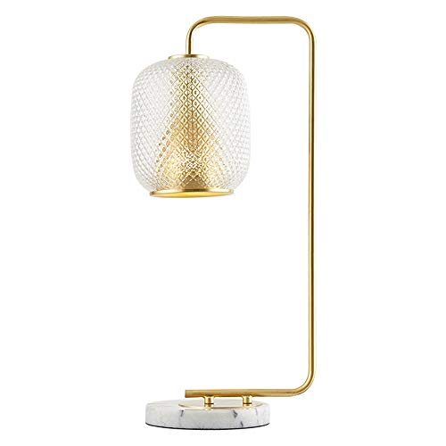 LCLZ Retro Bedside Lamp Living Room Lamp Bedroom Creative Personality Nordic Luxurious Glass Bedside Table Lamp 20 * 60cm
