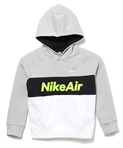 Nike Kinder Po Hoodie NSW Air, Lt Smoke Grey/White/Black/Volt, M